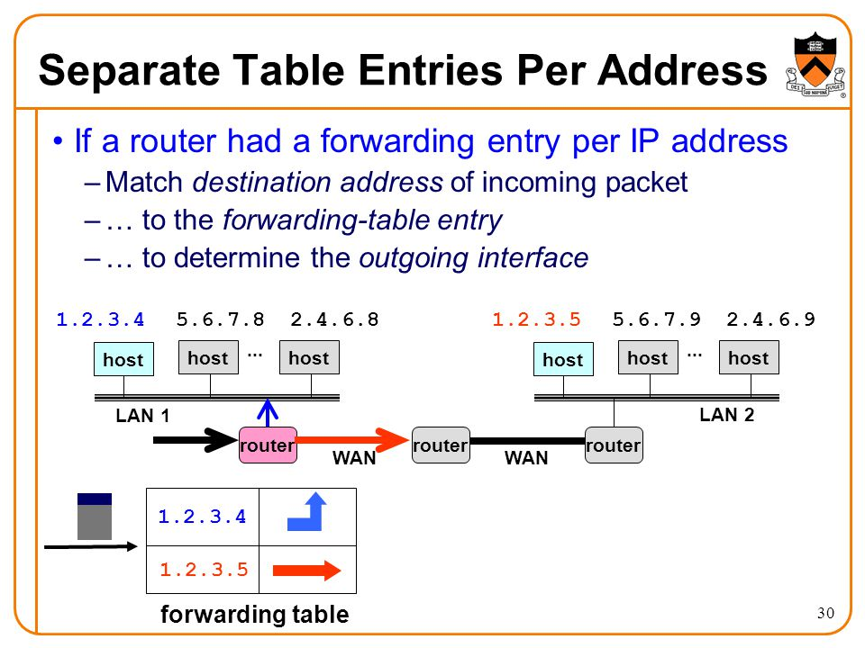 30 Separate Table Entries Per Address If a router had a forwarding entry per IP address –Match destination address of incoming packet –… to the forwarding-table entry –… to determine the outgoing interface host LAN 1...