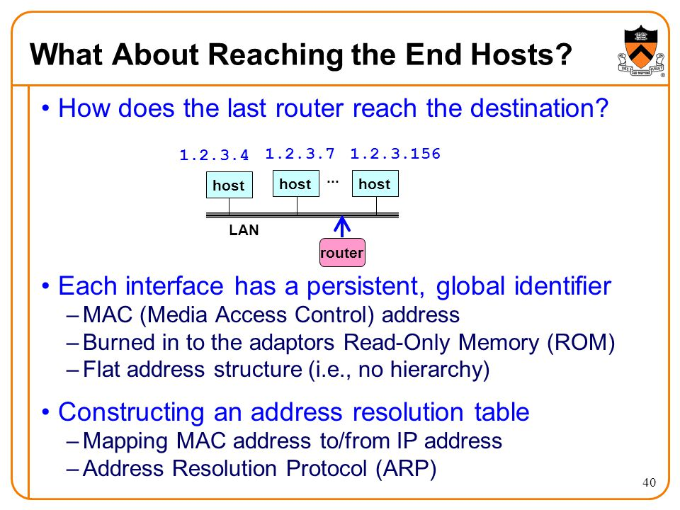 40 What About Reaching the End Hosts. How does the last router reach the destination.