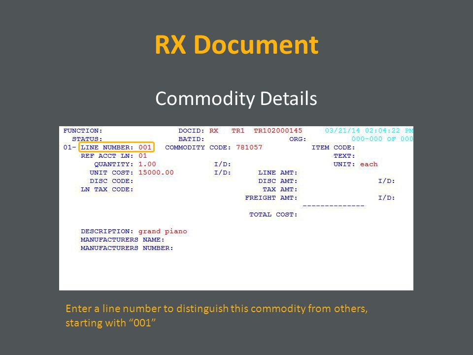 RX Document Commodity Details Enter a line number to distinguish this commodity from others, starting with 001