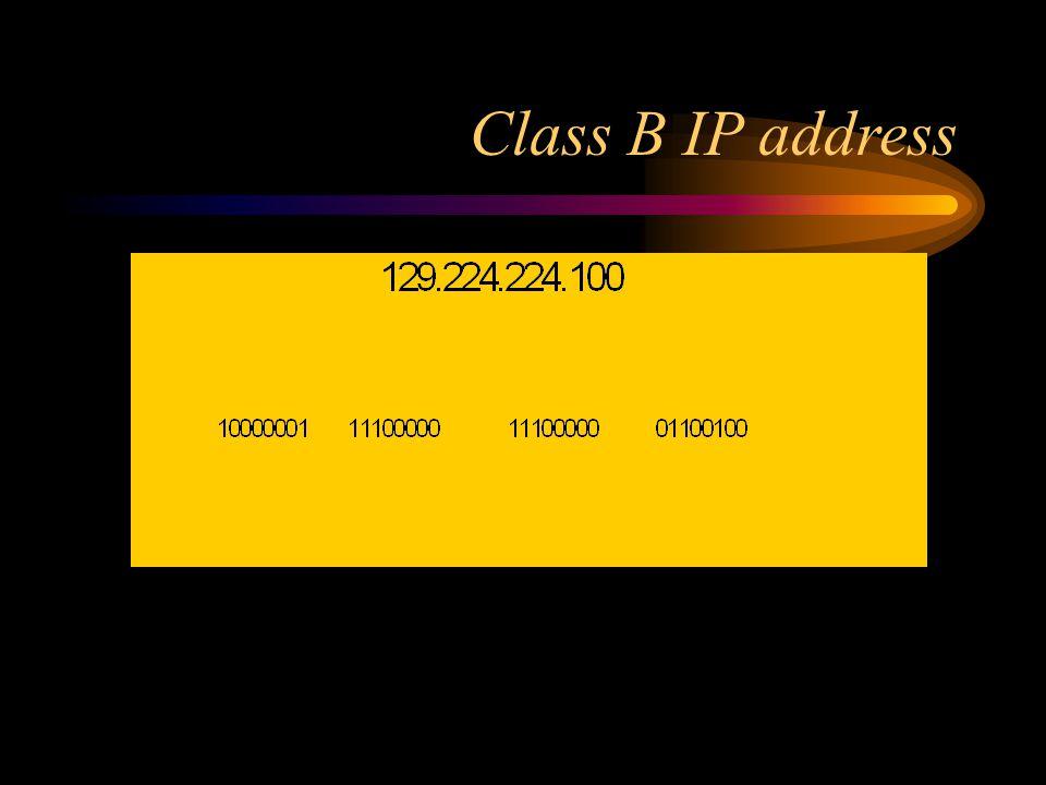 Class B IP address 1st 2 octets = network address, octets 3-4 = host address 1st 2 bits of 1st octet set to 10 up to (2^ 16 - 2 ) host addresses (65534)