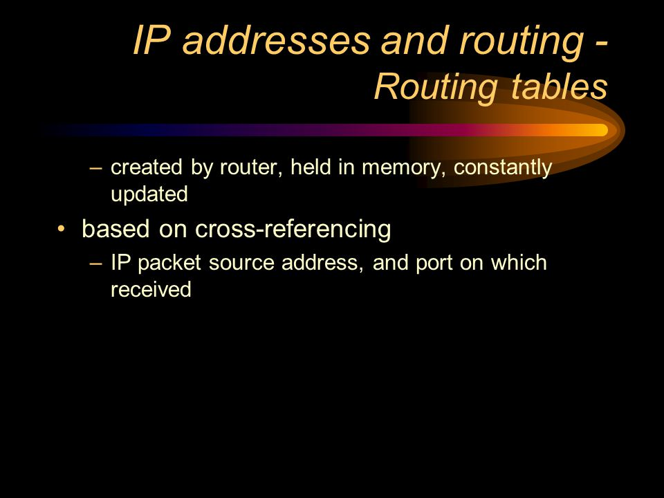 IP addresses and routing routing tables identifying source and destination IP packet routing