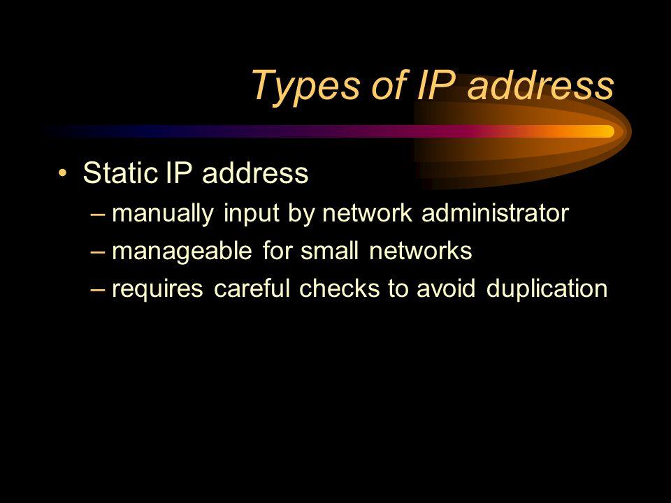 Types of IP address Static address Dynamic address