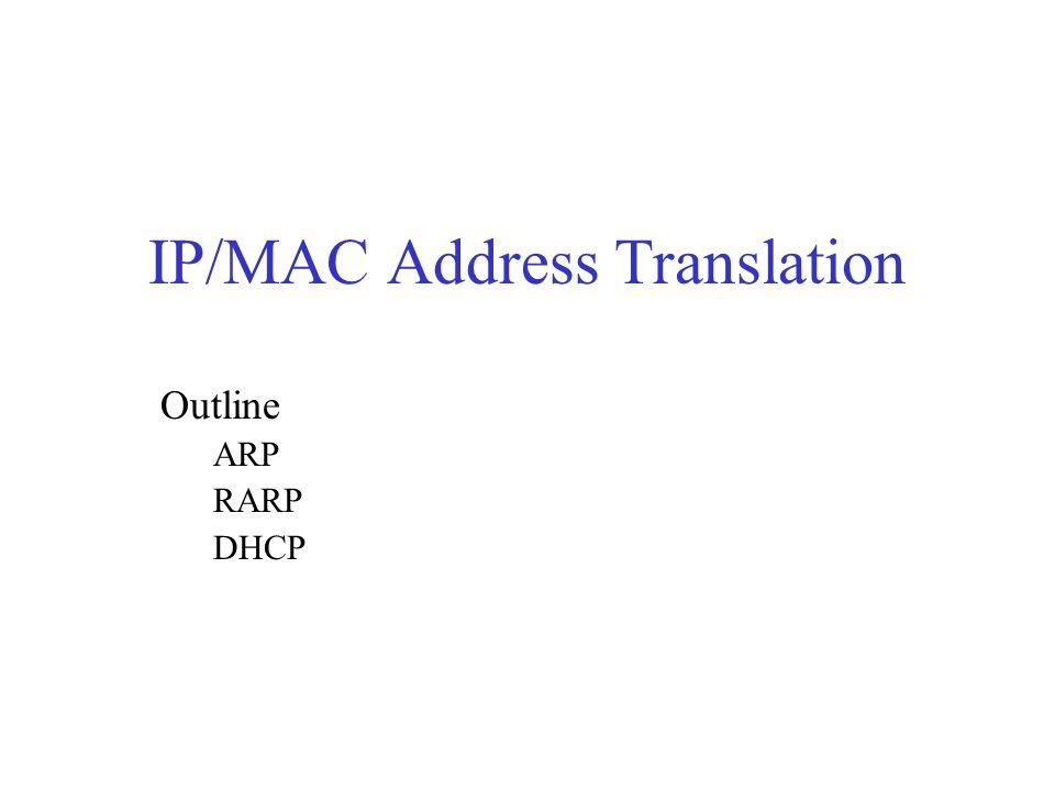 IP/MAC Address Translation Outline ARP RARP DHCP