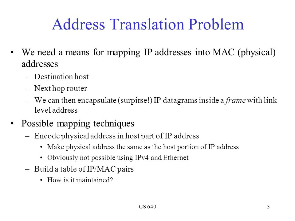 CS 6403 Address Translation Problem We need a means for mapping IP addresses into MAC (physical) addresses –Destination host –Next hop router –We can