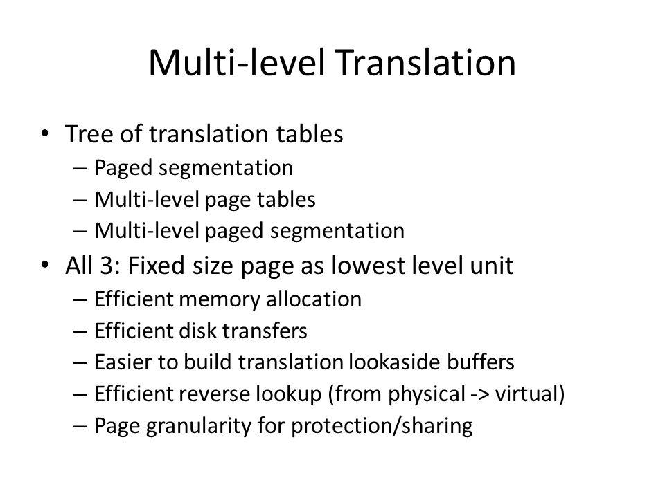 Multi-level Translation Tree of translation tables – Paged segmentation – Multi-level page tables – Multi-level paged segmentation All 3: Fixed size p