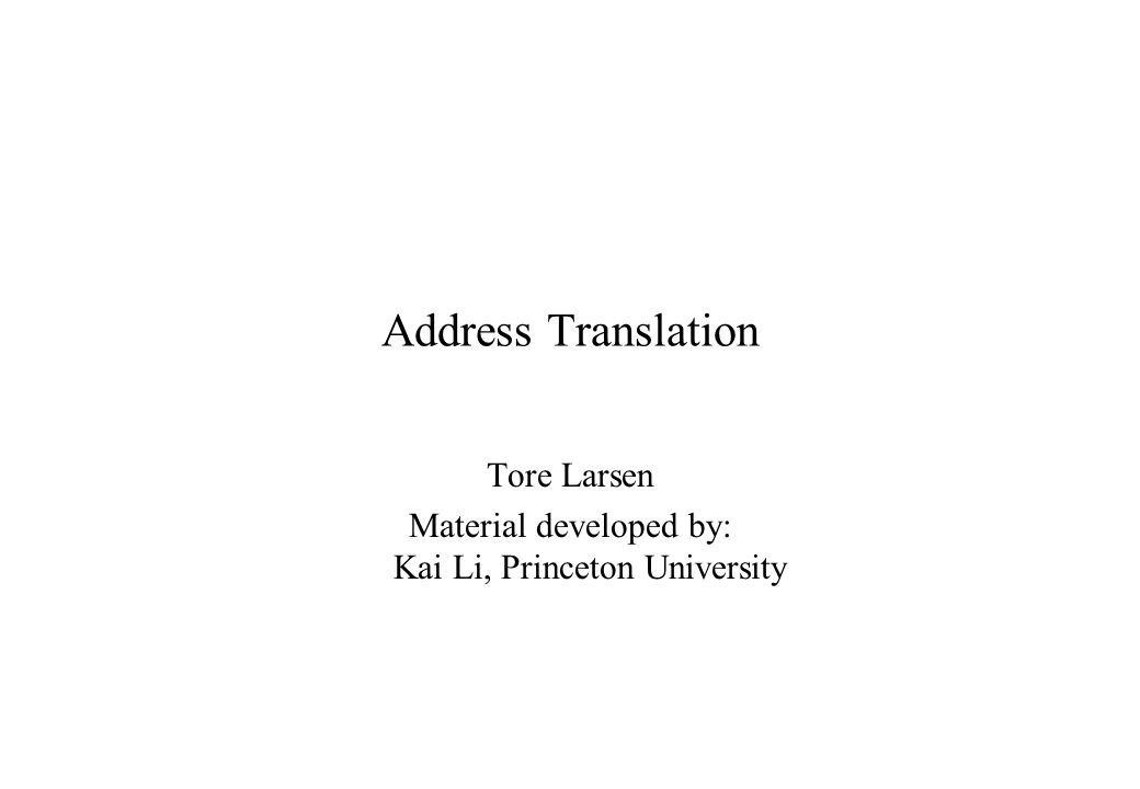 Translation Look-aside Buffer (TLB) offset Virtual address......