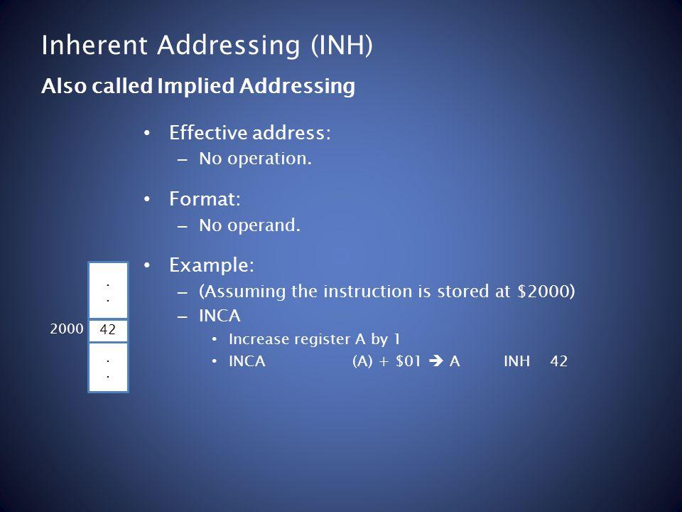 Inherent Addressing (INH) Effective address: – No operation.