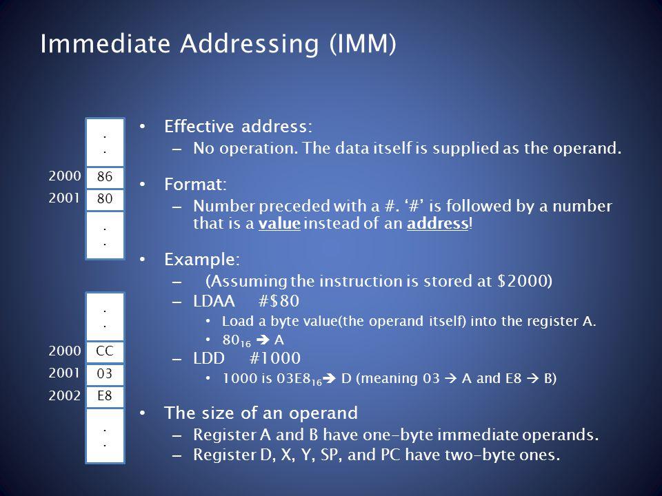 Immediate Addressing (IMM) Effective address: – No operation.