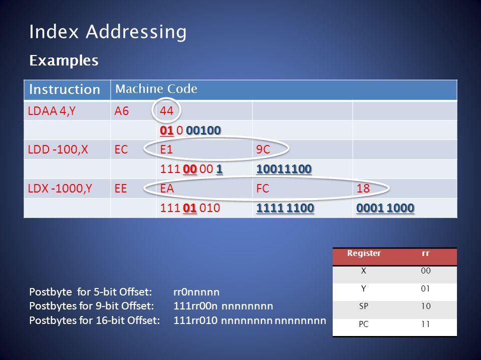 Index Addressing Instruction Machine Code LDAA 4,YA644 0100100 01 0 00100 LDD -100,XECE19C 00 1 111 00 00 110011100 LDX -1000,YEEEAFC18 01 111 01 010 1111 1100 0001 1000 Examples Registerrr X00 Y01 SP10 PC11 Postbyte for 5-bit Offset: rr0nnnnn Postbytes for 9-bit Offset: 111rr00n nnnnnnnn Postbytes for 16-bit Offset: 111rr010 nnnnnnnn nnnnnnnn