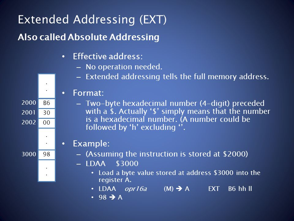 Extended Addressing (EXT) Effective address: – No operation needed.