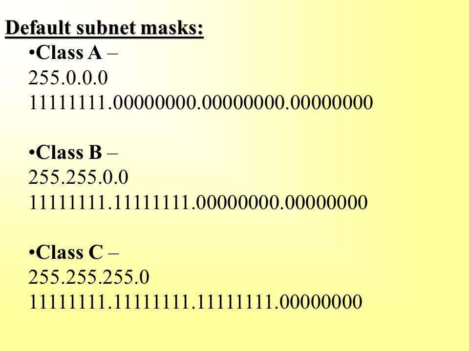 Default subnet masks: Class A – 255.0.0.0 11111111.00000000.00000000.00000000 Class B – 255.255.0.0 11111111.11111111.00000000.00000000 Class C – 255.255.255.0 11111111.11111111.11111111.00000000