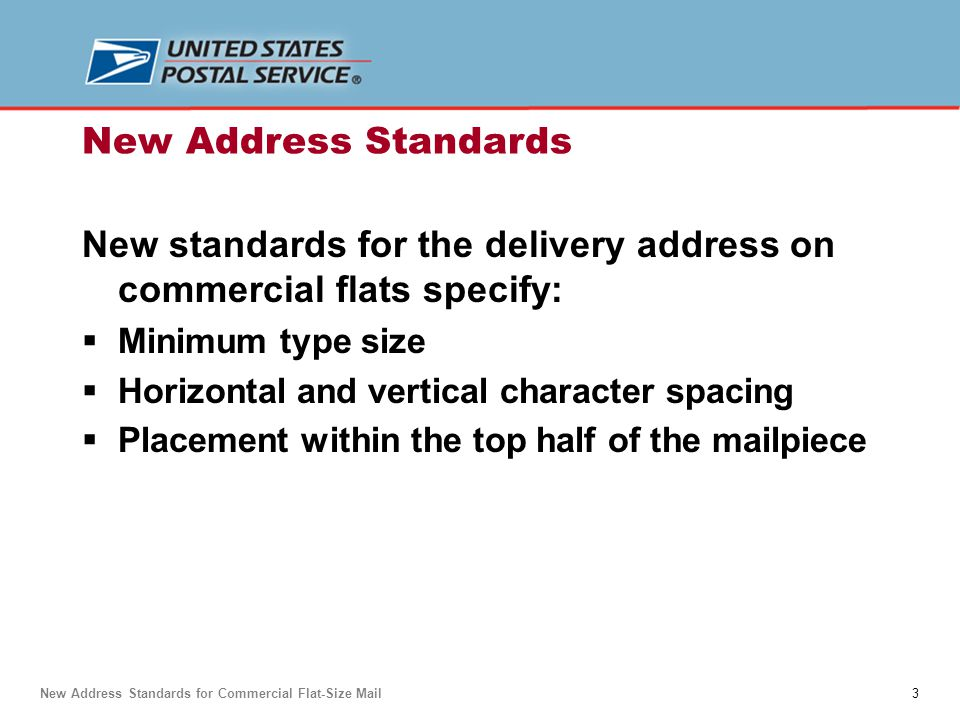 14 Address Placement — Unenclosed Flat New Address Standards for Commercial Flat-Size Mail