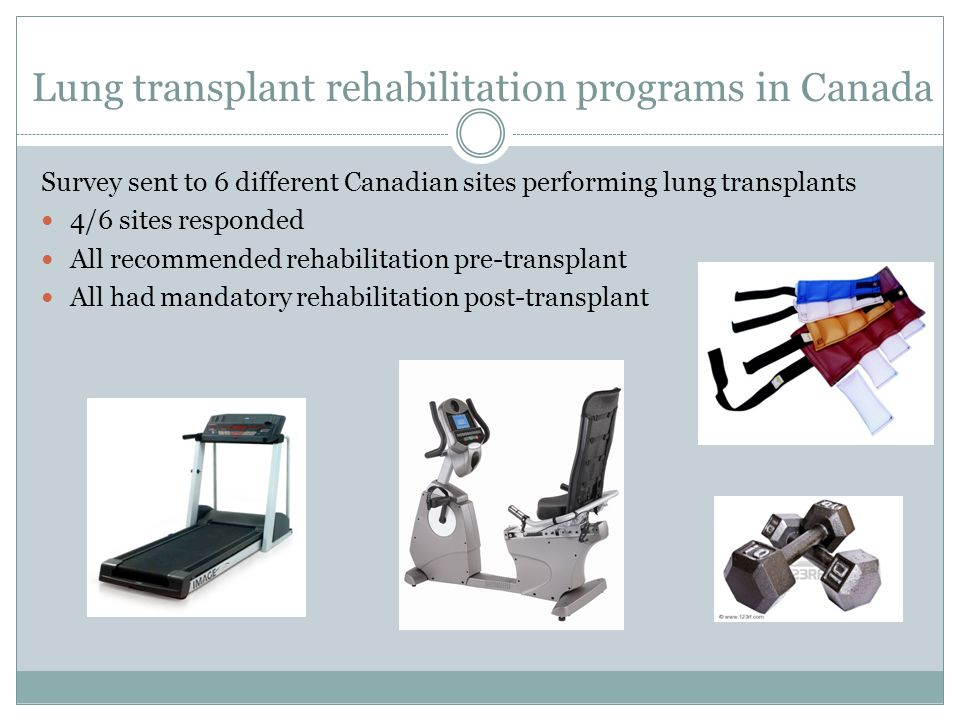 Lung transplant rehabilitation programs in Canada Survey sent to 6 different Canadian sites performing lung transplants 4/6 sites responded All recomm