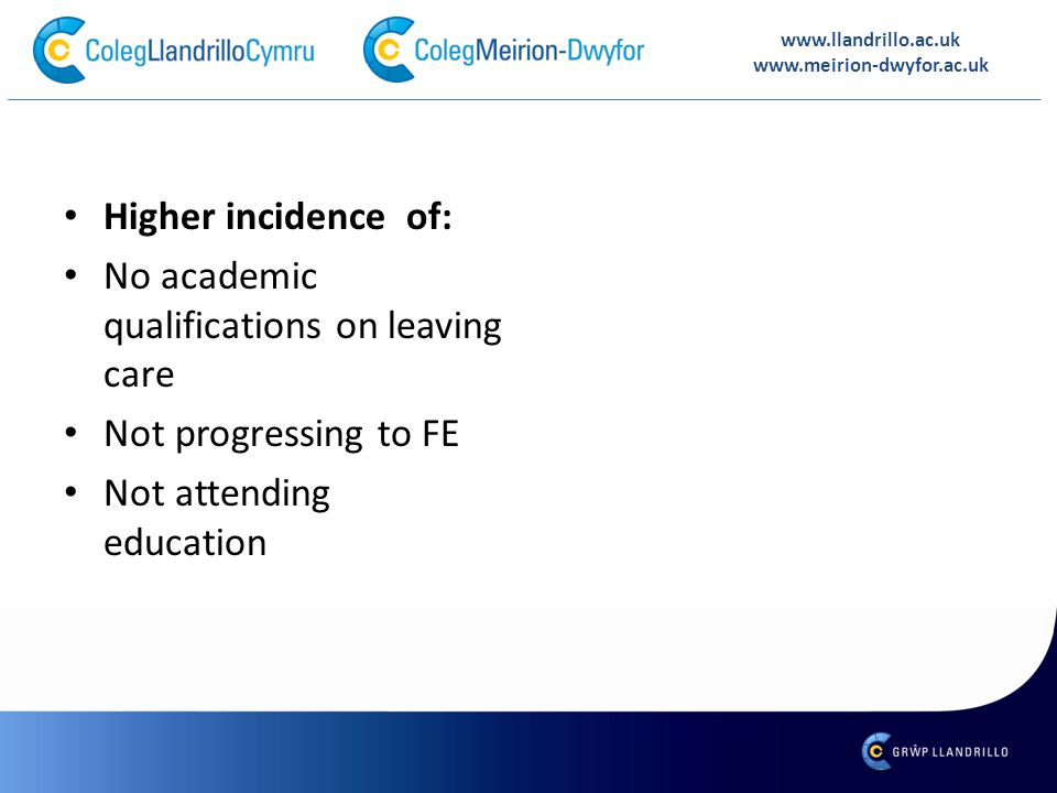 Higher incidence of: No academic qualifications on leaving care Not progressing to FE Not attending education