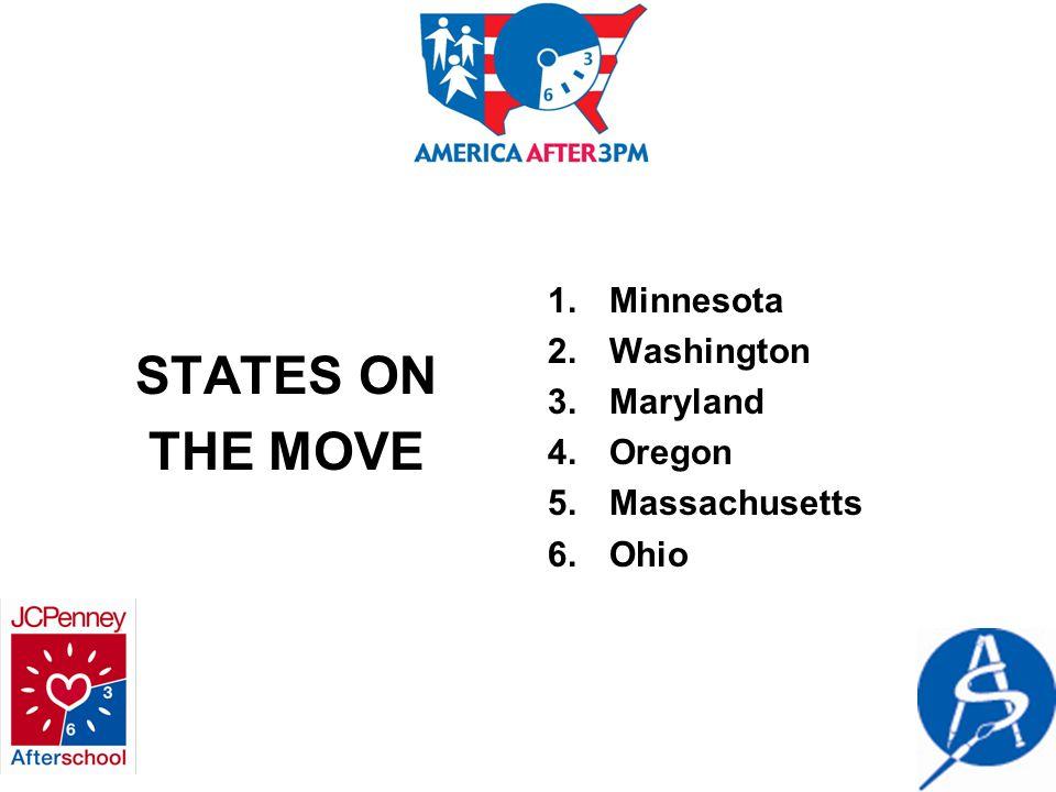 STATES ON THE MOVE 1.Minnesota 2.Washington 3.Maryland 4.Oregon 5.Massachusetts 6.Ohio