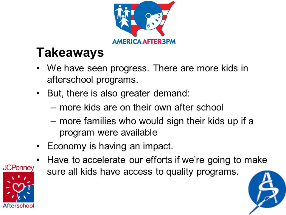 Takeaways We have seen progress.There are more kids in afterschool programs.