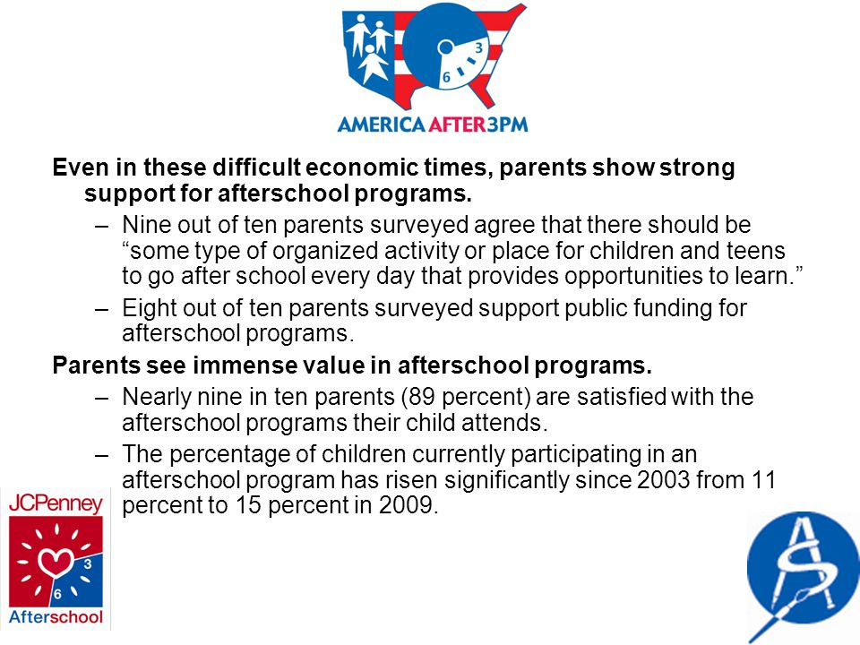 Even in these difficult economic times, parents show strong support for afterschool programs.