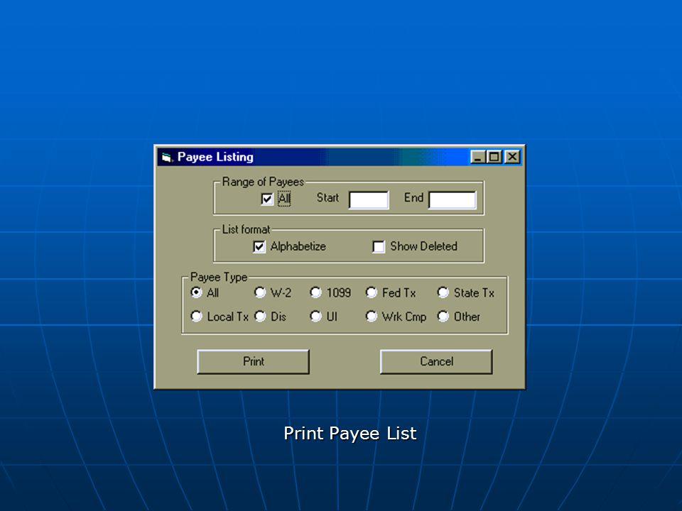 Print Payee List