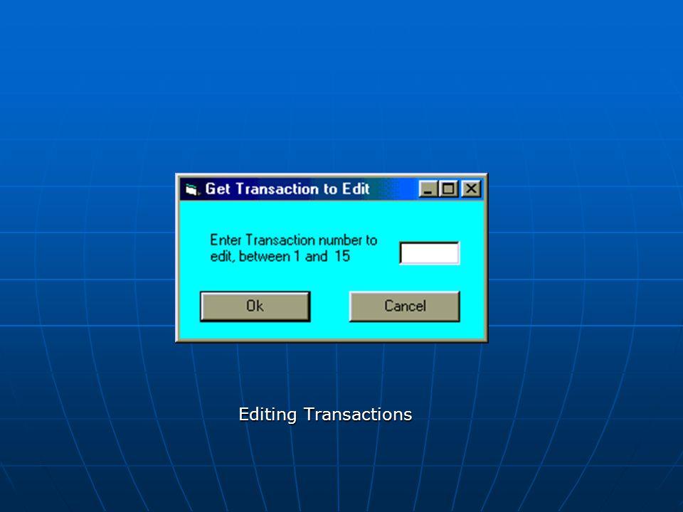 Editing Transactions