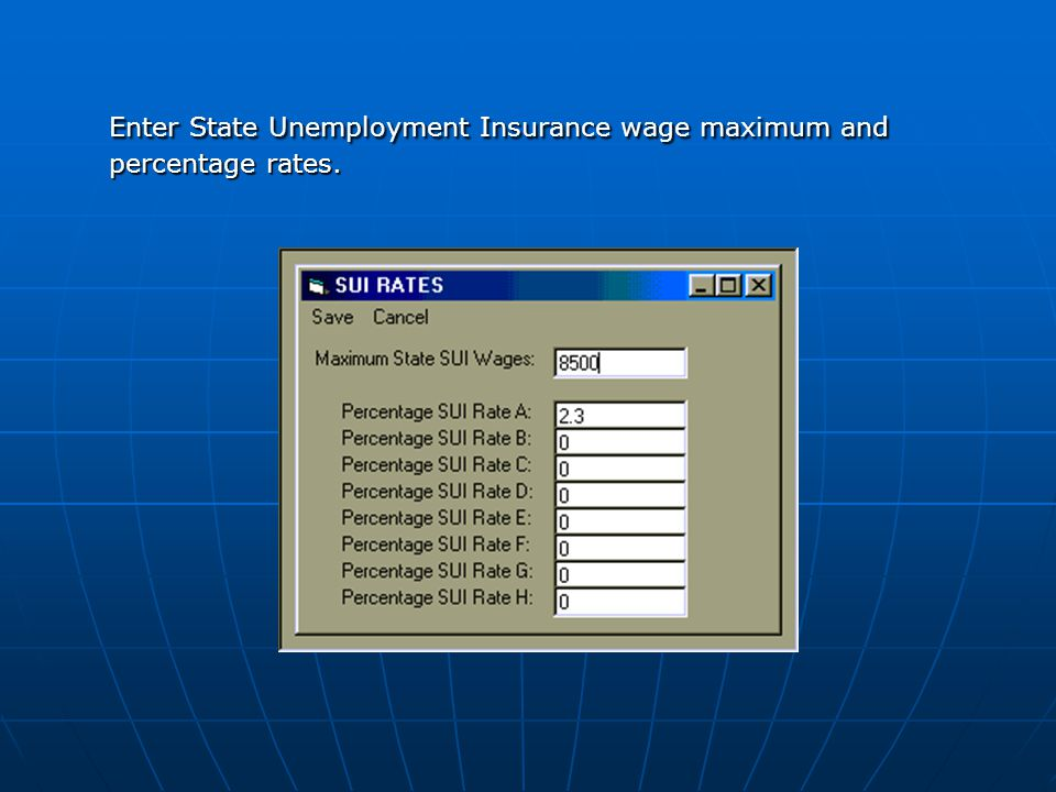Enter State Unemployment Insurance wage maximum and percentage rates.
