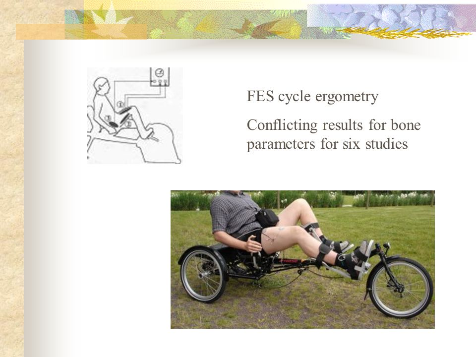 FES cycle ergometry Conflicting results for bone parameters for six studies