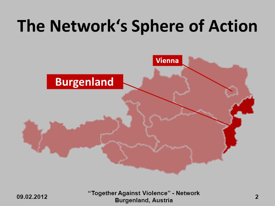 The Network's Sphere of Action Burgenland 09.02.2012 Together Against Violence - Network Burgenland, Austria 2 Vienna