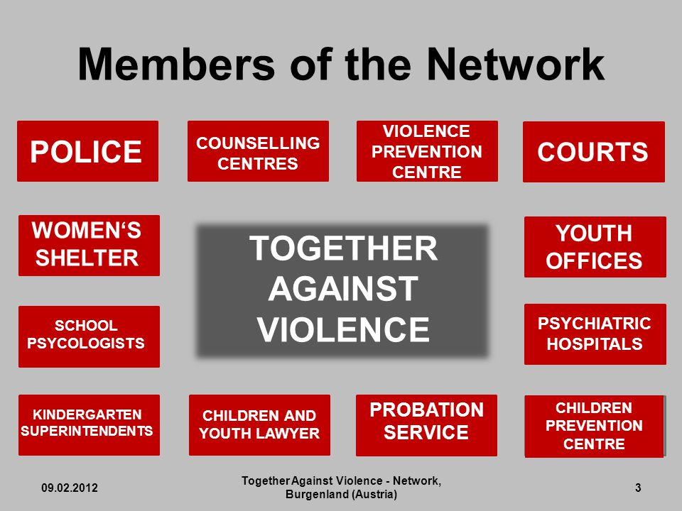 Members of the Network 09.02.2012 Together Against Violence - Network, Burgenland (Austria) 3 POLICE COUNSELLING CENTRES KINDERGARTEN SUPERINTENDENTS