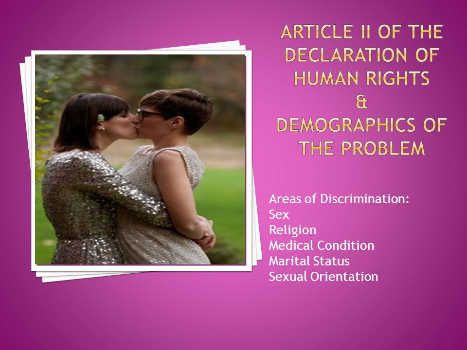 Areas of Discrimination: Sex Religion Medical Condition Marital Status Sexual Orientation