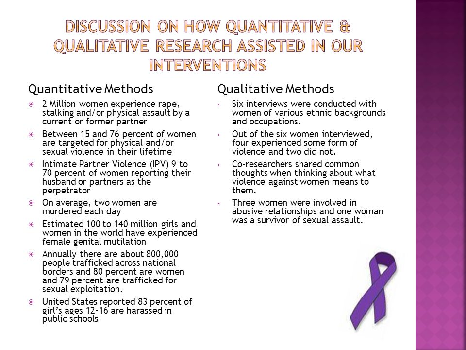 Quantitative Methods  2 Million women experience rape, stalking and/or physical assault by a current or former partner  Between 15 and 76 percent of women are targeted for physical and/or sexual violence in their lifetime  Intimate Partner Violence (IPV) 9 to 70 percent of women reporting their husband or partners as the perpetrator  On average, two women are murdered each day  Estimated 100 to 140 million girls and women in the world have experienced female genital mutilation  Annually there are about 800,000 people trafficked across national borders and 80 percent are women and 79 percent are trafficked for sexual exploitation.