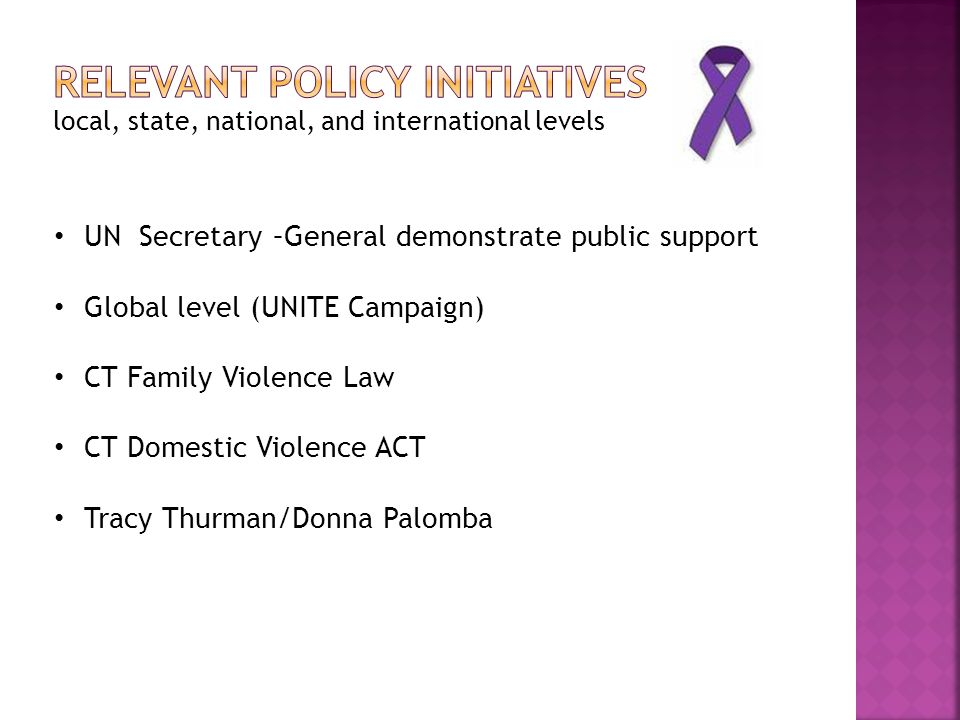 local, state, national, and international levels UN Secretary –General demonstrate public support Global level (UNITE Campaign) CT Family Violence Law CT Domestic Violence ACT Tracy Thurman/Donna Palomba