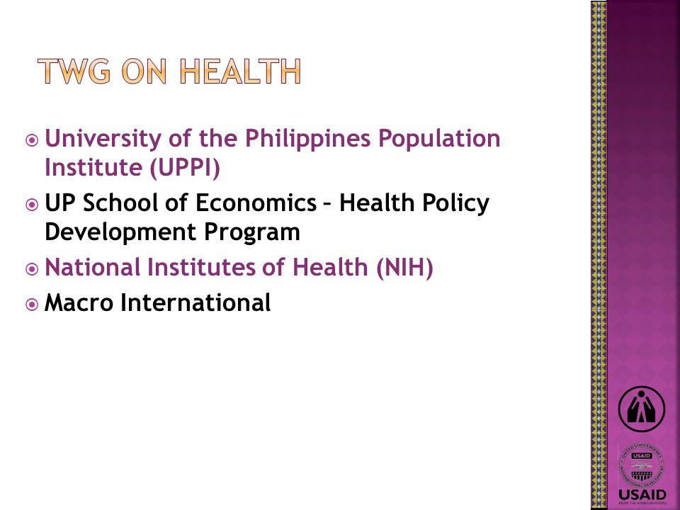  University of the Philippines Population Institute (UPPI)  UP School of Economics – Health Policy Development Program  National Institutes of Health (NIH)  Macro International