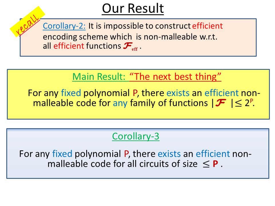 Our Result Corollary-3 Main Result: The next best thing A similar result [CG 14] But the encoding/decoding becomes inefficient in order to get negligible error Caveat: Our results hold in CRS model.