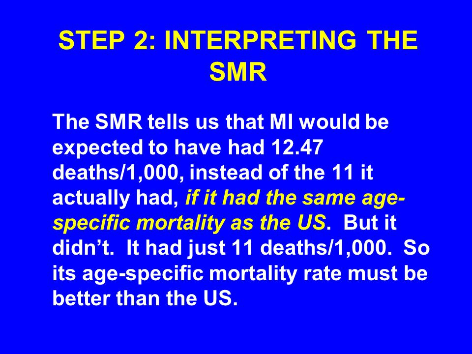 STEP 2: INTERPRETING THE SMR The SMR tells us that MI would be expected to have had 12.47 deaths/1,000, instead of the 11 it actually had, if it had t