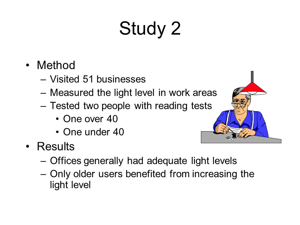 Study 2 Method –Visited 51 businesses –Measured the light level in work areas –Tested two people with reading tests One over 40 One under 40 Results –Offices generally had adequate light levels –Only older users benefited from increasing the light level