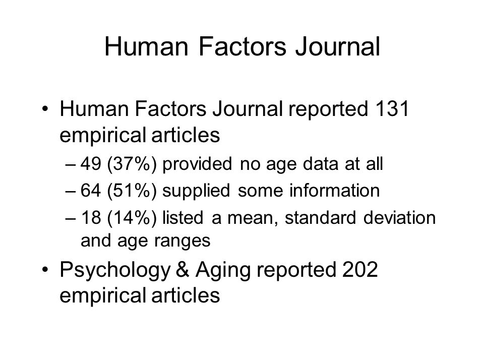 Human Factors Journal Human Factors Journal reported 131 empirical articles –49 (37%) provided no age data at all –64 (51%) supplied some information –18 (14%) listed a mean, standard deviation and age ranges Psychology & Aging reported 202 empirical articles