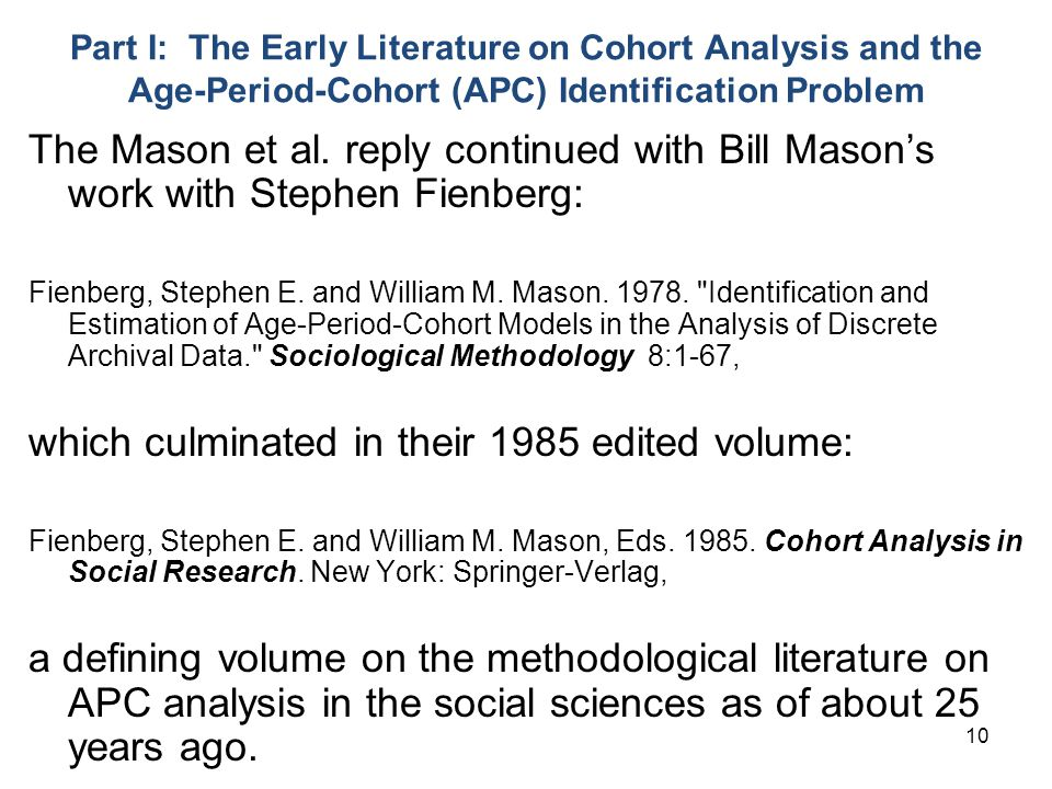 10 Part I: The Early Literature on Cohort Analysis and the Age-Period-Cohort (APC) Identification Problem The Mason et al.