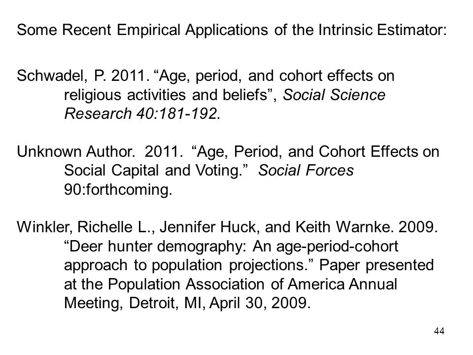 44 Some Recent Empirical Applications of the Intrinsic Estimator: Schwadel, P.