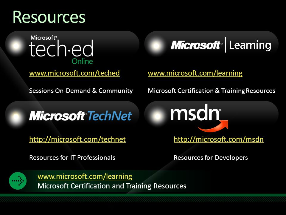 www.microsoft.com/teched Sessions On-Demand & Community http://microsoft.com/technet Resources for IT Professionals http://microsoft.com/msdn Resources for Developers www.microsoft.com/learning Microsoft Certification and Training Resources www.microsoft.com/learning Microsoft Certification & Training Resources Resources Required Slide Speakers, TechEd 2009 is not producing a DVD.