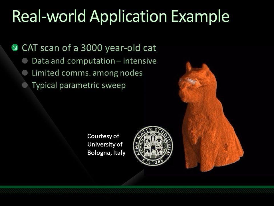 Real-world Application Example Courtesy of University of Bologna, Italy CAT scan of a 3000 year-old cat Data and computation – intensive Limited comms