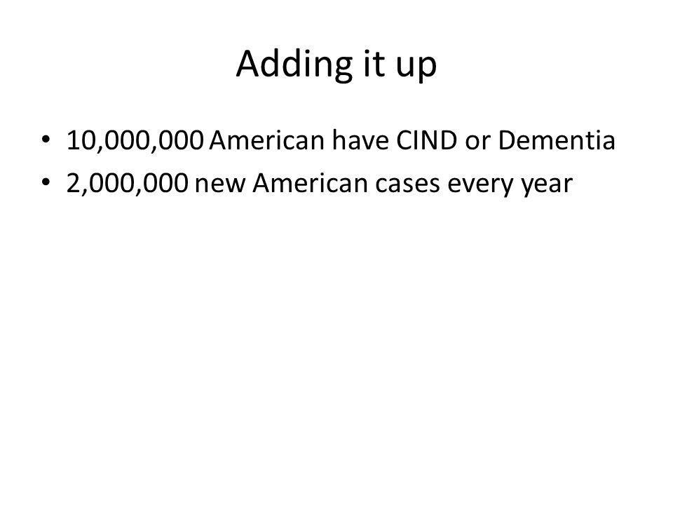 Adding it up 10,000,000 American have CIND or Dementia 2,000,000 new American cases every year