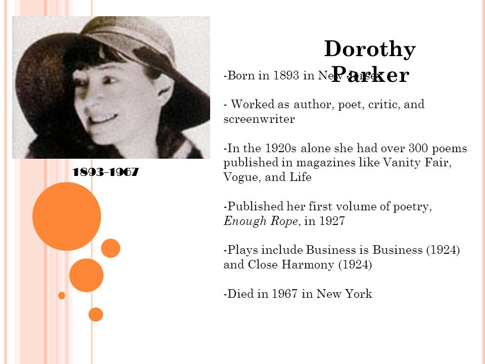 Dorothy Parker 1893-1967 -Born in 1893 in New Jersey - Worked as author, poet, critic, and screenwriter -In the 1920s alone she had over 300 poems published in magazines like Vanity Fair, Vogue, and Life -Published her first volume of poetry, Enough Rope, in 1927 -Plays include Business is Business (1924) and Close Harmony (1924) -Died in 1967 in New York