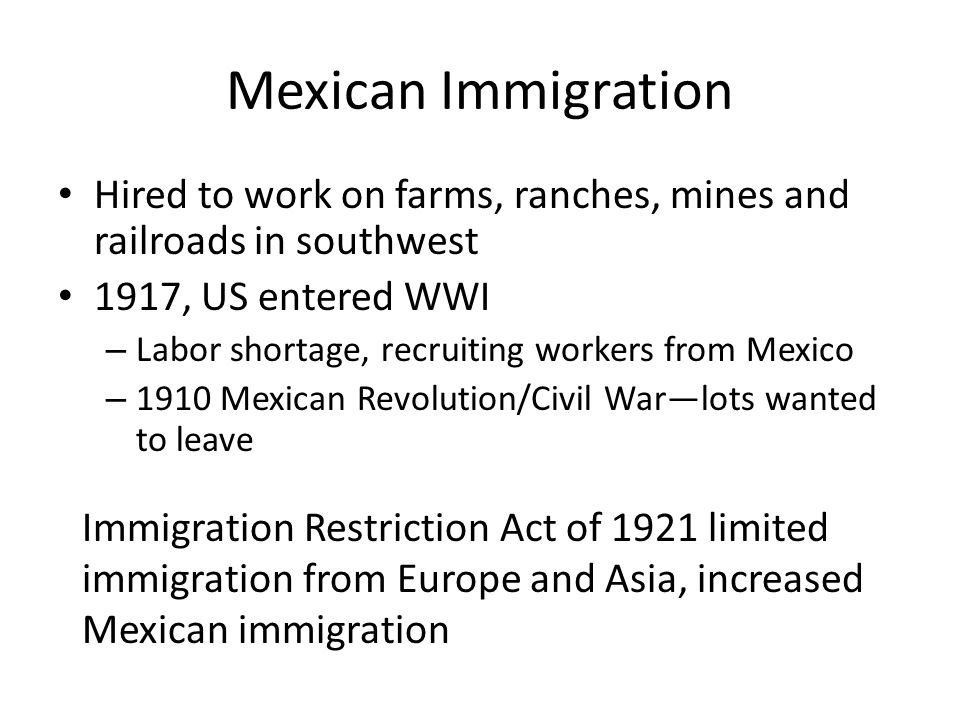 Nativism—individuals opposed to new immigration Based on competition for resources created tension and division Some faced exclusion from employment or housing Immigrants were encouraged to assimilate into American culture
