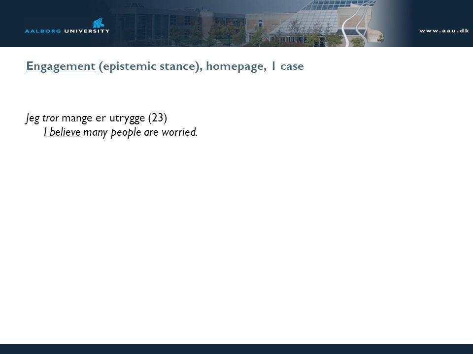 Engagement (epistemic stance), homepage, 1 case Jeg tror mange er utrygge (23) I believe many people are worried.