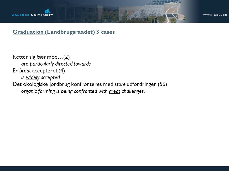 Graduation (Landbrugsraadet) 3 cases Retter sig især mod…(2) are particularly directed towards Er bredt accepteret (4) is widely accepted Det økologis