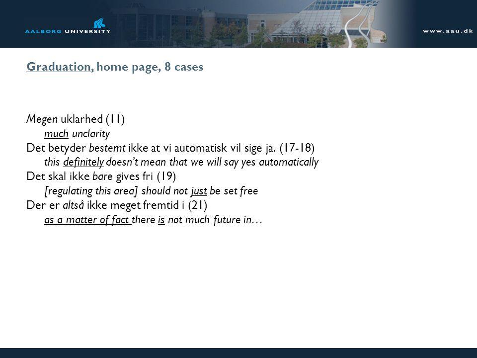 Graduation, home page, 8 cases Megen uklarhed (11) much unclarity Det betyder bestemt ikke at vi automatisk vil sige ja. (17-18) this definitely doesn