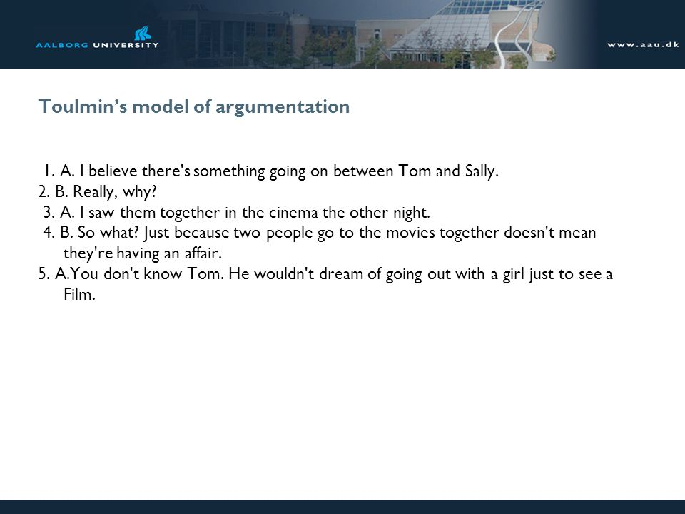 Toulmin's model of argumentation 1. A. I believe there's something going on between Tom and Sally. 2. B. Really, why? 3. A. I saw them together in the