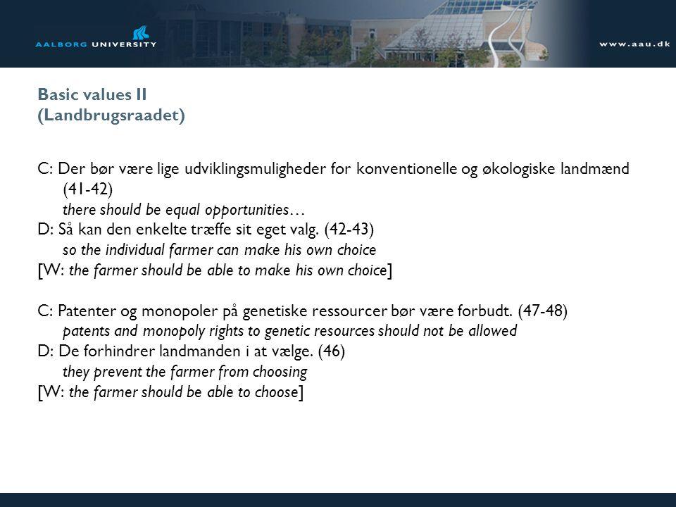 Basic values II (Landbrugsraadet) C: Der bør være lige udviklingsmuligheder for konventionelle og økologiske landmænd (41-42) there should be equal opportunities… D: Så kan den enkelte træffe sit eget valg.