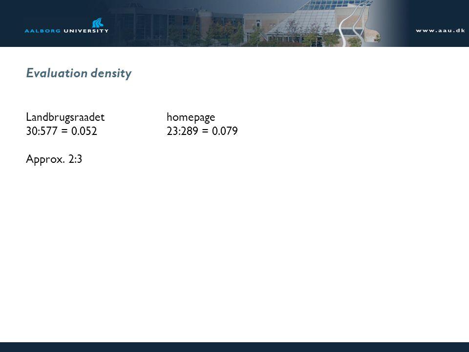 Evaluation density Landbrugsraadethomepage 30:577 = 0.05223:289 = 0.079 Approx. 2:3