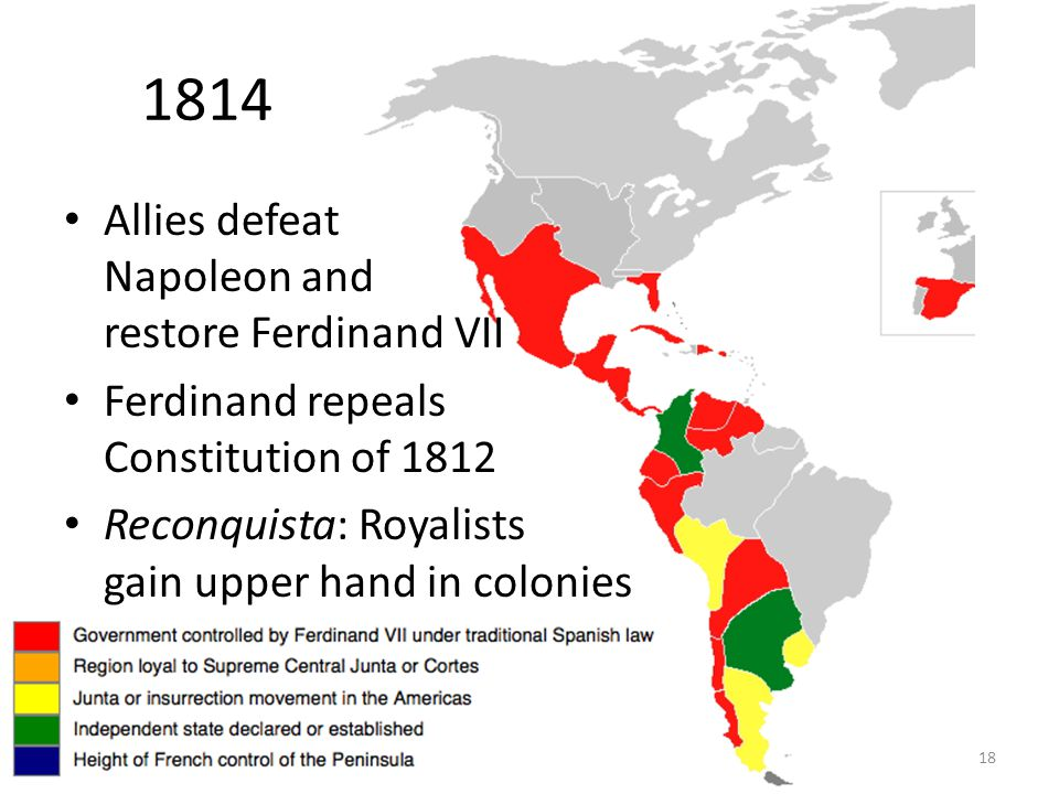 18 1814 Allies defeat Napoleon and restore Ferdinand VII Ferdinand repeals Constitution of 1812 Reconquista: Royalists gain upper hand in colonies