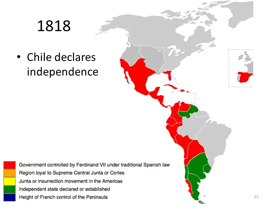 22 1818 Chile declares independence